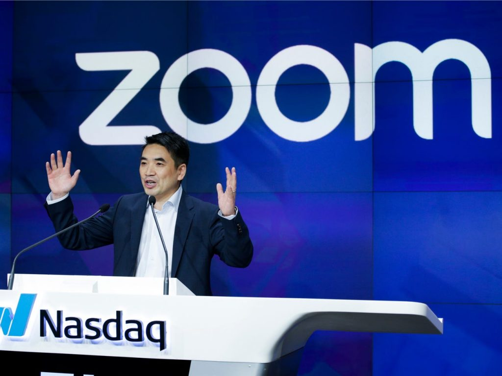 Zoom founder Eric Yuan speaks before the Nasdaq opening bell ceremony on April 18, 2019 in New York City. Kena Betancur/Getty Images